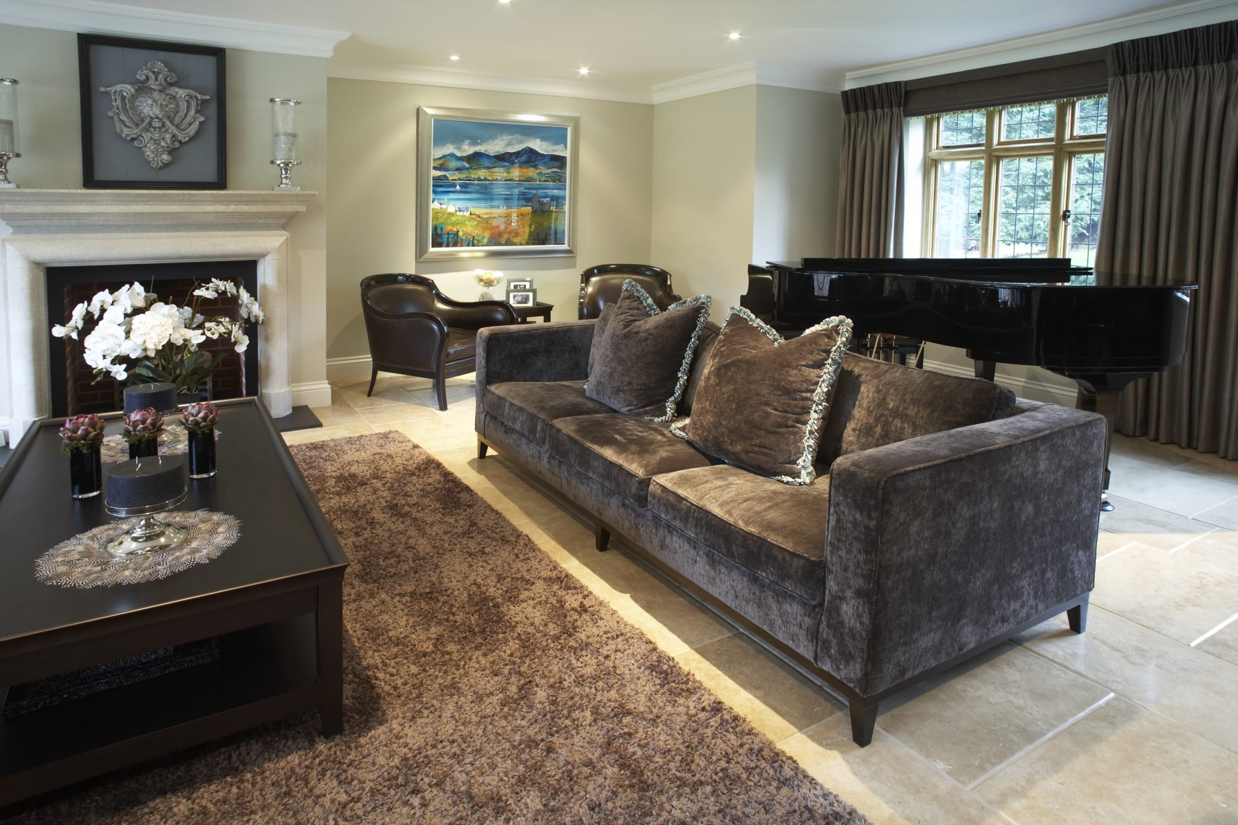 classic modern living room design dark brown and white Bicester