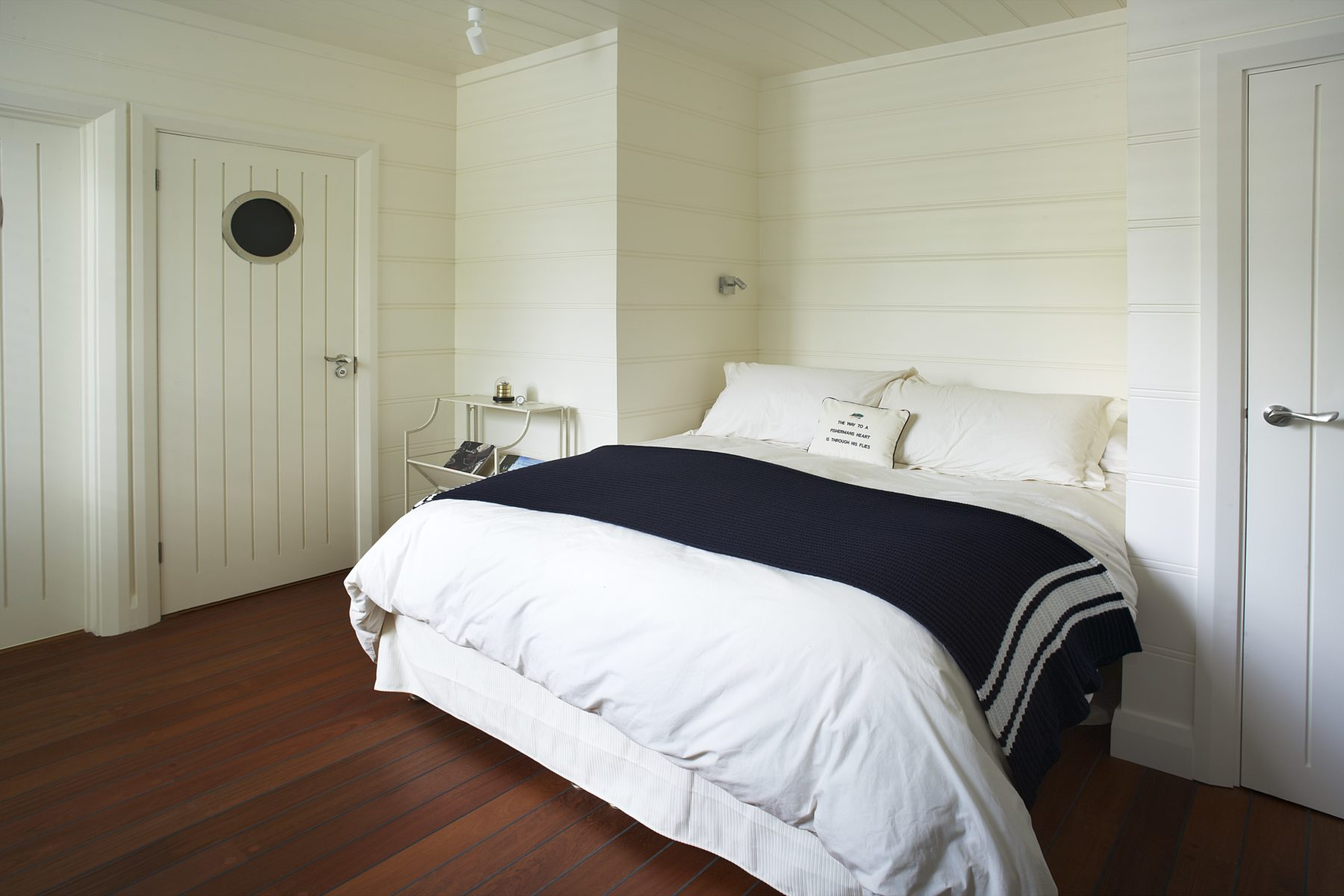 White bed white interior bedroom Marlow