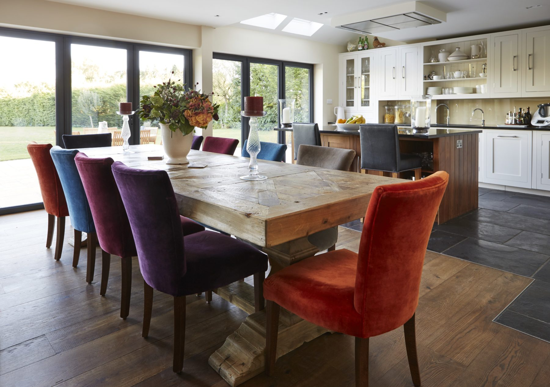 wood and charcoal floor contemporary dining room and kitchen design Watlington