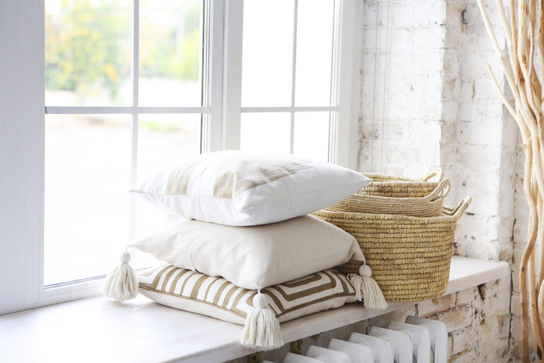 Window sill with light pillows