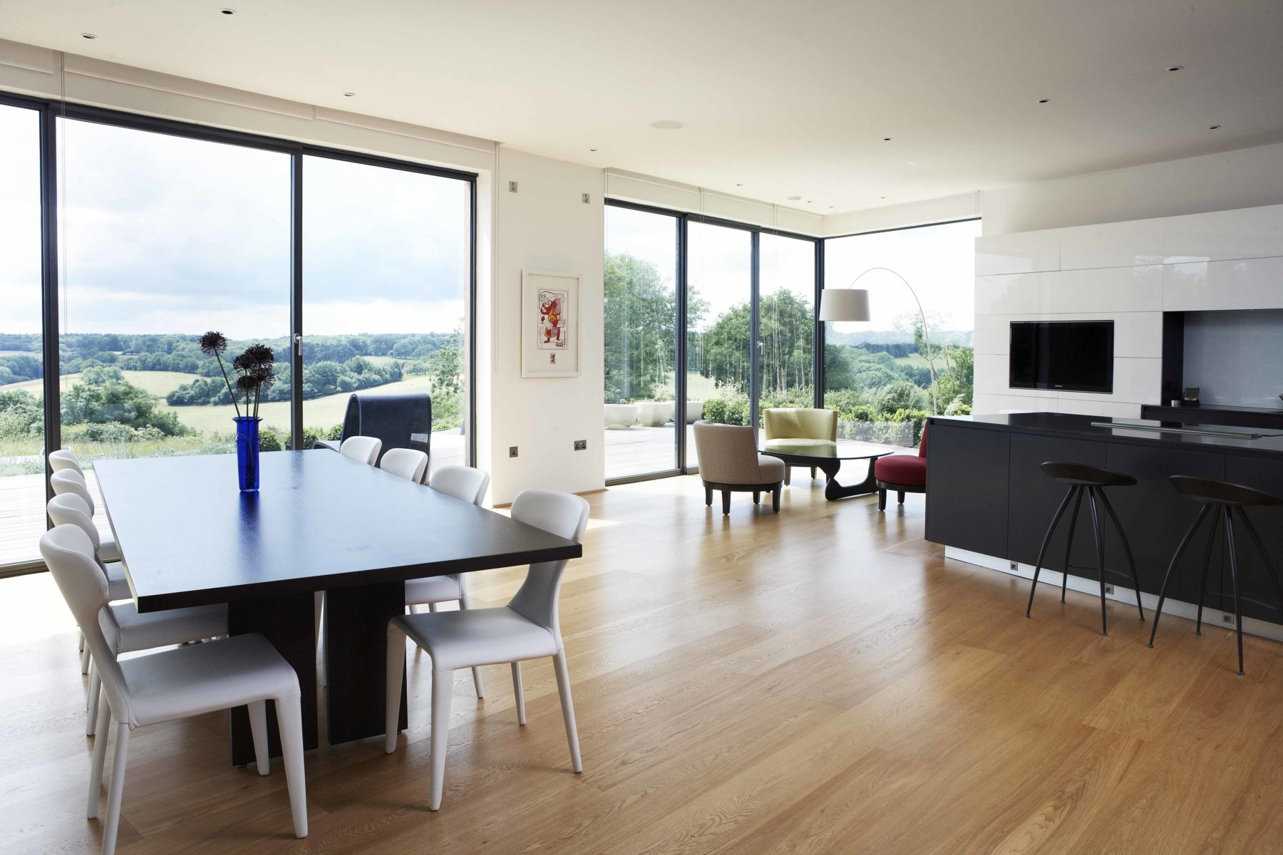 minimalist kitchen and dining room setting